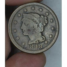 1c One Cent Penny 1848 G4 orig brown toning