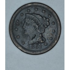 1c One Cent Penny 1851 VF20 even orig. brown