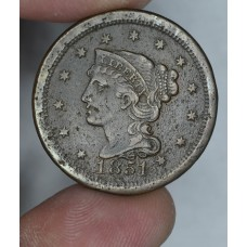 1c One Cent Penny 1851 F12 orig choc. brown