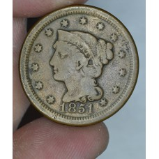 1c One Cent Penny 1851 G6 lt. choc. brown
