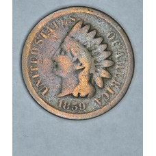 1c One Cent Penny 1859 G4 hazy brown toning