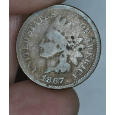 1c One Cent Penny 1867 G4 a few obv digs