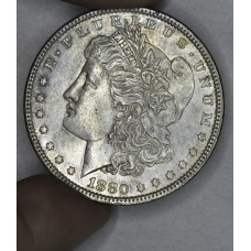 $1 One Dollar 1880 P AU50 lt grey toning