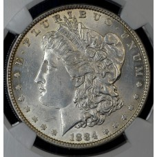 $1 One Dollar 1884 P MS60 NGC slab cleaned