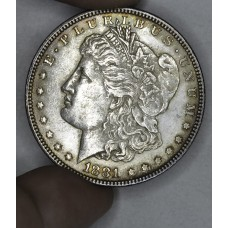 $1 One Dollar 1881 P AU55 orig gry tn gldn hue bright
