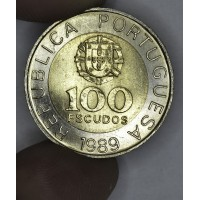 Portugal 100 Escudos 1989 MS65 bi-metallic KM#645.1 bright