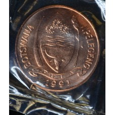 Botswana 5 Thebe 1991 MS64 chrome plated steel KM#4a.1 red gem