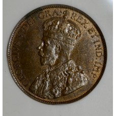 Canada 1c One Cent 1912 MS62 BN ANACS bronze KM#21 beauty