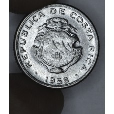 Costa Rica 10 Centimos 1958 AU58 stainless steel KM#185.1a Lustrous