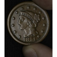 1c One Cent Penny 1851 F12 original chocolate brown