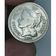 3c Three Cents 1866 Nickel VG8 light original toning