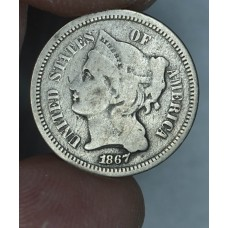 3c Three Cents 1867 Nickel VG8 even original grey tone
