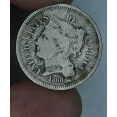 3c Three Cents 1868 Nickel VG8 original golden grey tone