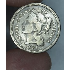 3c Three Cents 1881 Nickel F12 lt grey hue