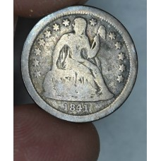 10c Dime 1841 O G6 Open Buds grey