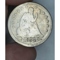 25 Cent Quarter 1854 VG8 W/Arrows some toning