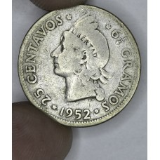 Dominican Republic 25 Centavos 1952 VG10 silver KM#20 evn lt gry