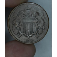 2c Two Cents 1866 G4 deep chocolate brown
