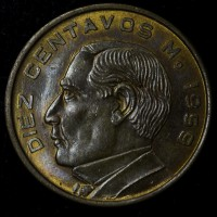 Mexico 10 Centavos 1959 MS63 bronze KM#433 brn red great