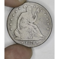 50c Half Dollar 1874 VG8 W/Arrows even medium grey CH