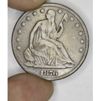 50c Half Dollar 1876 VF20 even medium grey CH