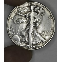 50c Half Dollar 1938 D VF30 white grey toning key date