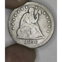 25 Cent Quarter 1856 O F15 even golden grey CH