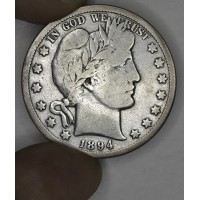 50c Half Dollar 1894 S F15 silvery grey choice