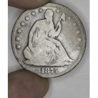 50c Half Dollar 1875 VG8 even choice medium grey