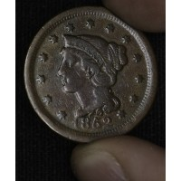 1c One Cent Penny 1852 F12 even chocolate brown choice