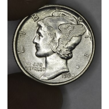 10c Dime 1934 MS63 flashy luster lt gld hue