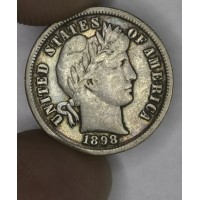 10c Dime 1898 VF25 gold gray tone