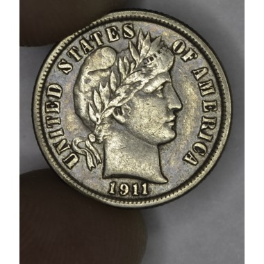 10c Dime 1911 EF45 gld gry tn luster remains