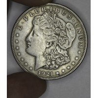 $1 One Dollar 1921 S Morgan EF40 light gold gray tone