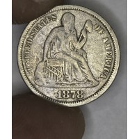 10c Dime 1878 F15 light gold hue