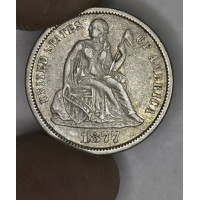 10c Dime 1877 S EF40 golden gray tone