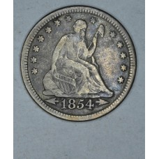 25 Cent Quarter 1854 F12 W/Arrows dark gray tone