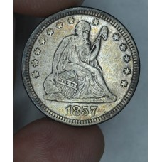 25 Cent Quarter 1857 VF20 charcoal grey toning