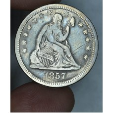 25 Cent Quarter 1857 F12 light gray