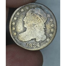 10c Dime 1834 G4/AG3 Large 4 smoky tn