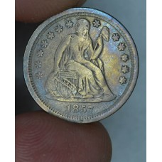 10c Dime 1857 F15 med golden grey