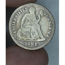 10c Dime 1888 VG10 some rich toning