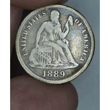 10c Dime 1889 F12 golden grey tone