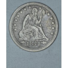 25 Cent Quarter 1854 F15 W/Arrows lt orig toning