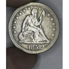 25 Cent Quarter 1858 F15 med. grey toning
