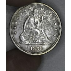 25 Cent Quarter 1876 EF40 lt PVC damage