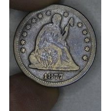 25 Cent Quarter 1877 F12 golden grey tone