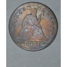 25 Cent Quarter 1854 VG10 W/Arrows rainbow tng