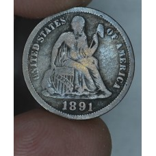 10c Dime 1891 F15 drk gray toning some red hues