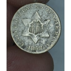 3c Three Cents 1852 Silver VF20 Type 1 uneven grey toning